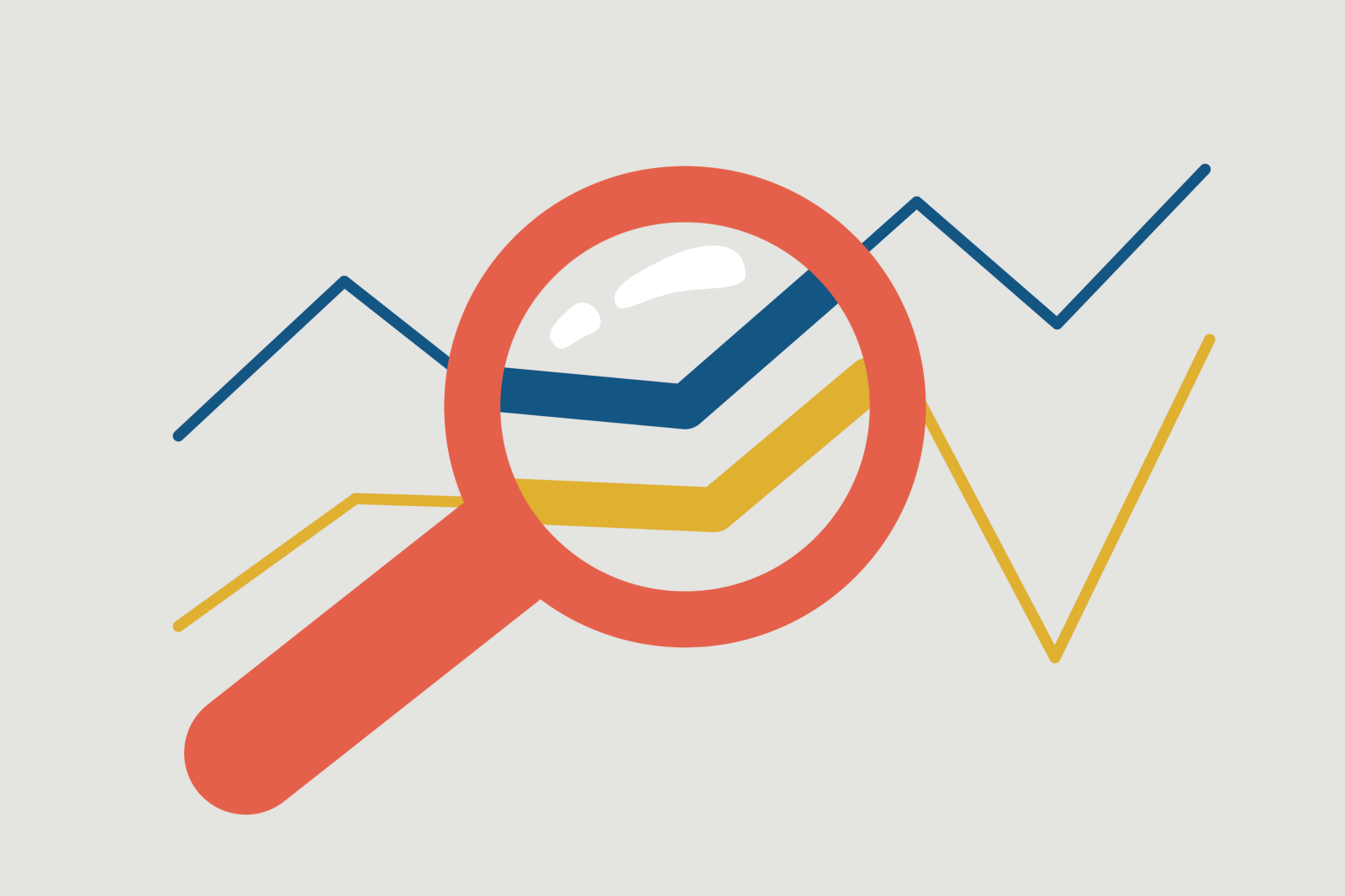 Upward Trend Graph Under Magnifying Glass Image